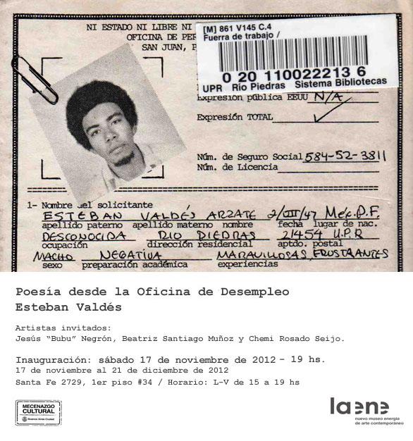 Poesía desde la Oficina de Desempleo de Esteban Valdés