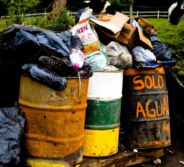 Trash cans, Cocora Valley, Colombia by Paul Bridgewater